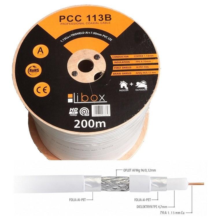 """Kabel SAT Coaxial PCC113B """"CPR"""" – LIBOX/200m"""