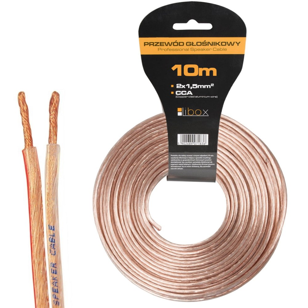 Kabel głośnikowy 2×1,50mm LB0008-10 LIBOX