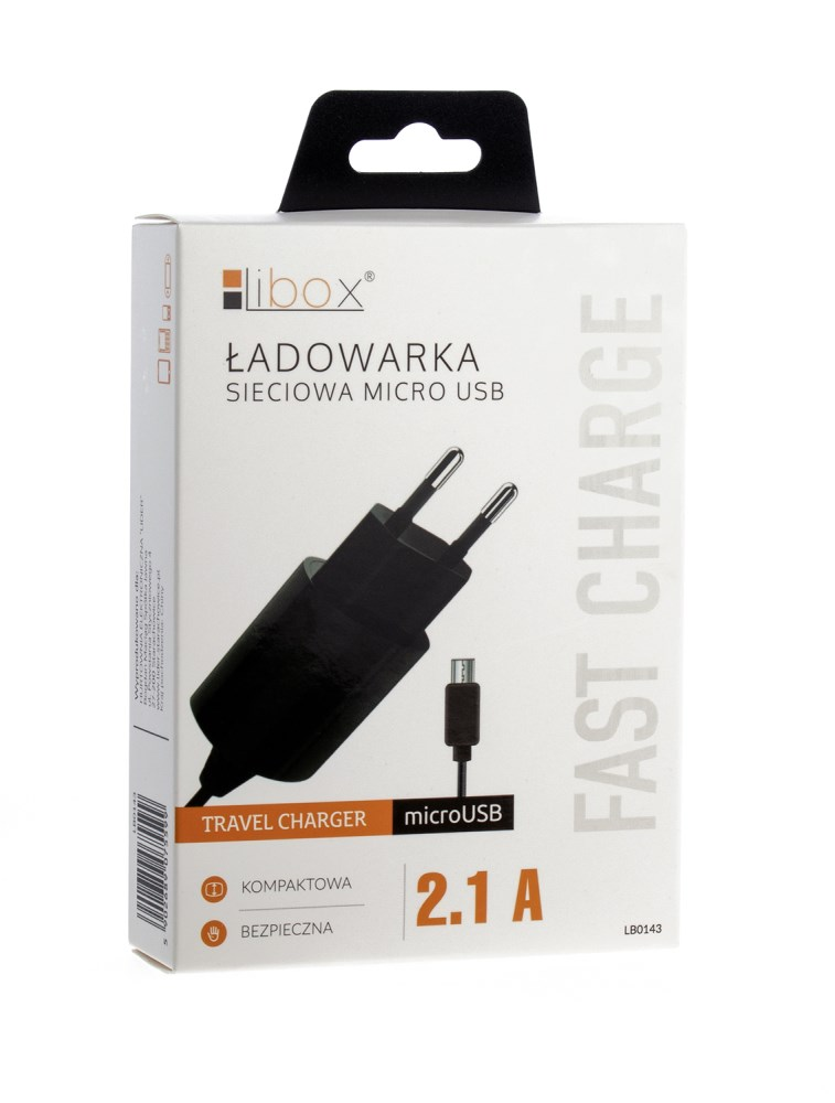 Ładowarka sieciowa 2,1A LIBOX LB0143 z kablem microUSB