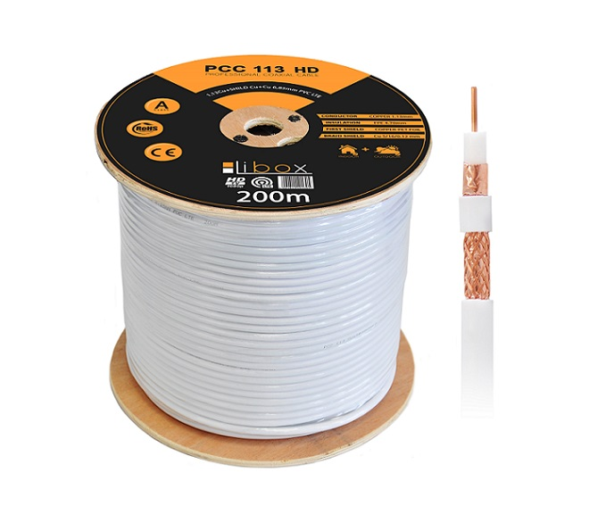 Kabel LIBOX SAT Professional Premium kl.A HD/200m PCC113
