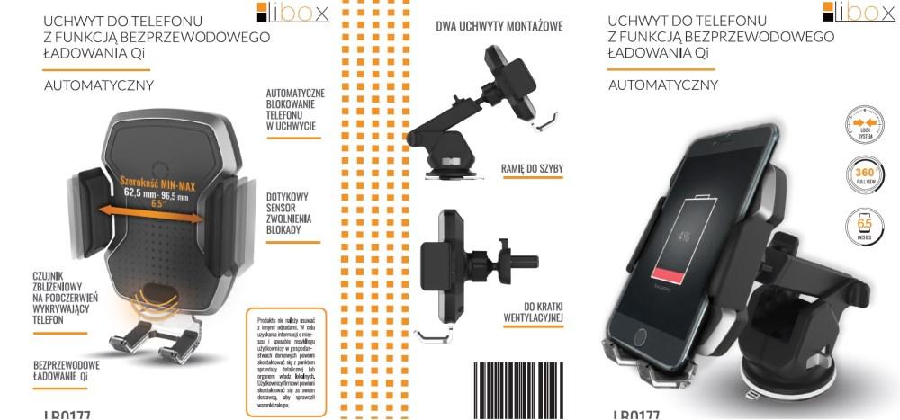 Uchwyt automatyczny samoch. do telefonu z funkcją bezprzewodowego ładowania Qi LB0177 LIBOX